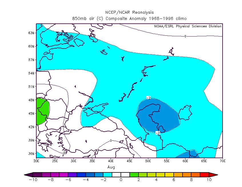 Карты прогноза на август 2008 года для